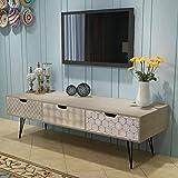 Cikonielf Mueble para TV con 3 cajones, aparador retro, mueble para TV moderno, de madera, mueble bajo para TV, mueble para el estéreo, 120 x 40 x 36 cm, color gris