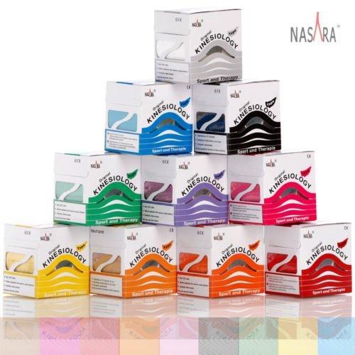 Nasara® Original Kinesiology Tape 6 Rollen in Einer Packung, 3X Blau 3X Pink