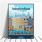 FUXUERUI Amsterdam viajes ciudad paisaje lienzo pintura cartel pared arte imagen dormitorio decoración del hogar 40x60 cm sin marco
