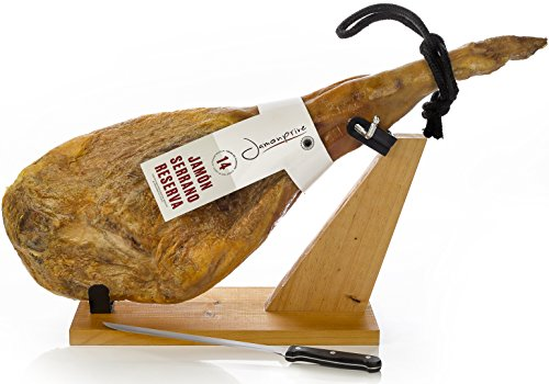 Serrano Schinken Reserva + Schinkenhalter + Messer 6.2 - 6.8 Kg - Spanischer Schinken