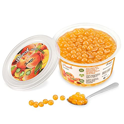Original Popping Boba Fruchtperlen für Bubble Tea - 450g - Pfirsich - Ohne künstliche Farbstoffe, echte Fruchtsäfte - Weniger Zucker - 100% Vegan und Glutenfrei