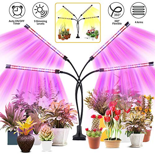 Roleadro Grow Lights for Indoor Plants, 80W 2nd Generation Red Blue & 3500k Full Spectrum Plant Lights with Auto ON/Off 3/9/12H Timer, Adjustable Gooseneck, 3 Switch Modes