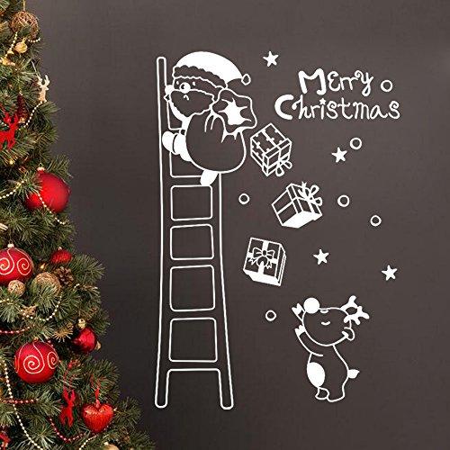 Vovotrade® Stickers Fenêtre Murale Père Noël Noël Noël Art Décalque Art Décalques Wall Window Stickers Santa Claus Christmas Xmas Vinyl Art Decoration Decals (white)