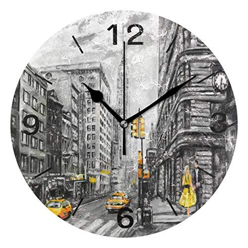 Use7 Home Decor Ölgemälde New York Street Runde Acryl-Wanduhr tickt nicht leise Uhr Kunst für Wohnzimmer Küche Schlafzimmer