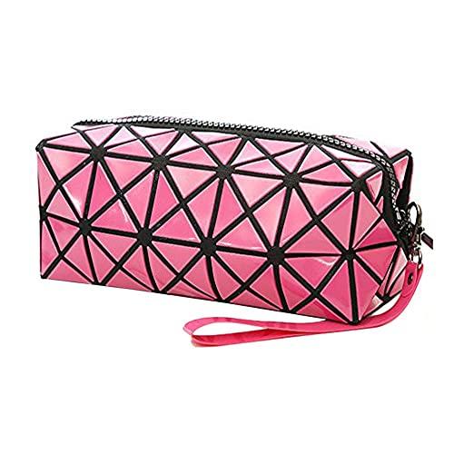 1bolso plegable para mujer, con diseños de rombos, de piel sintética, en forma de cubo, para maquillaje o como bolso de mano rojo Rojo