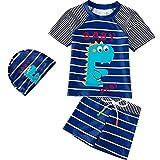 Pequeño Niños Traje de Baño 3 Piezas Niño de Manga Corta Camisa de Natación + Shorts + Sombrero Conjunto de Ropa de Playa para 3-4 Años