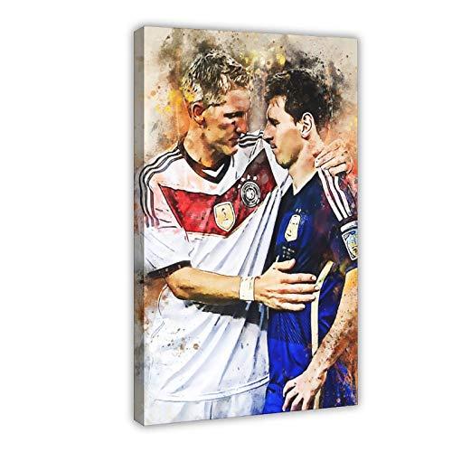 Bastian Schweinsteiger Poster mit Fußball-Star-Figur, Sportposter, Leinwand-Poster, Wandkunst, Dekor, Bild, Gemälde für Wohnzimmer, Schlafzimmer, Dekoration, Rahmen: 60 x 90 cm