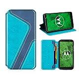 MOBESV Smiley Custodia in Pelle Moto G6 Plus, Custodia Moto G6 Plus Cover Libro/Portafoglio Porta per Cellulare Motorola Moto G6 Plus - Aqua/Blu Scuro