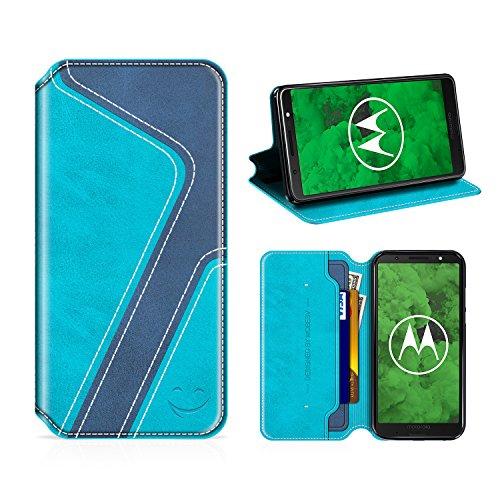 MOBESV Smiley Moto G6 Plus Hülle Leder, Moto G6 Plus Tasche Lederhülle/Wallet Hülle/Ledertasche Handyhülle/Schutzhülle mit Kartenfach für Motorola Moto G6 Plus, Aqua/Dunkel Blau