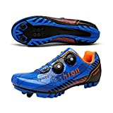 KUXUAN Calzado De Ciclismo MTB para Hombre - Carreteras Unisex Calzado Profesional Transpirable con Bloqueo Automático Ligero,Blue-EU47