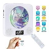 Lecteur CD/DVD Portable Gueray Lecteur CD Portable Bluetooth Mural Haut-Parleur HiFi Intégré avec Full HD 1080p et télécommande Lecteur CD DVD Montage avec Port Audio de 3,5 mm Clé USB Audio AUX