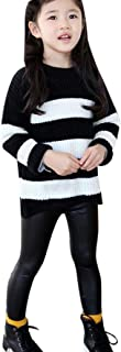 New and Children Black Artificial PU Leather Elastic Waist Trousers Leggings Kids Classic Baby Girls Pencil Pants