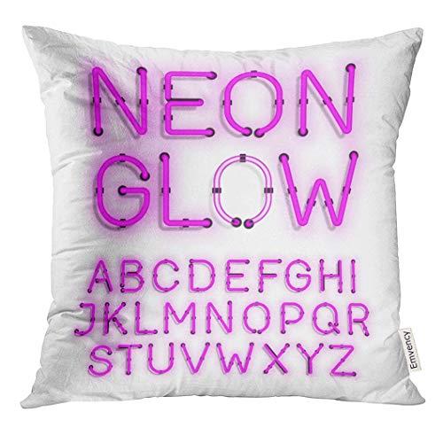 Kinhevao Throw Pillow Pink Led Neon Glow Alphabet en Blanco Letra de...