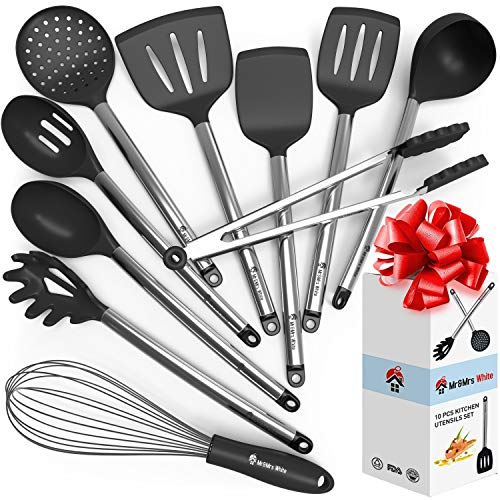 Cooking Silicone Utensils Set 10 — Best Nonstick Kitchen Cookware Utensil Sets — Large Hanging...