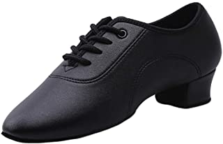 Fulision Men's and Boys Latin Dance Shoes PU Leather Ballroom Practice Shoes