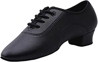 Inlefen Men's and Boys Black Latin Dance Shoes PU Leather Low-Heel Shoes