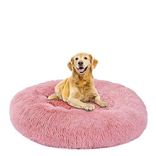 DULING Cama redonda para mascotas,cojín para mascotas acogedor, colchón invierno para cachorro,almohada felpa suave,cojín Fossa,súper suave y esponjoso cojín para dormir cálido (cuero rosa,100 cm)