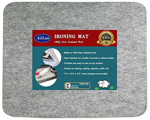 "17"" x 13.5"" Quilting Ironing Pad for Quilters – Wool Pressing Mat, Portable Wool Felted Iron Board"