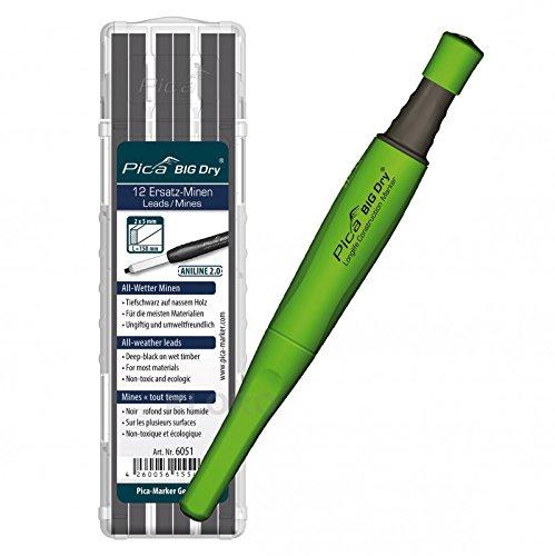 PICA-BIG Dry® 1x Marker + 12 Steinhauer-Ersatzminen 10H Graphit 6055 Beton/Stein