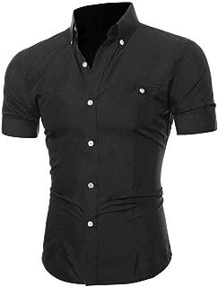 Men Short Sleeve Dress Shirt Slim Fit Oxford Collar Solid Button Business Blouse