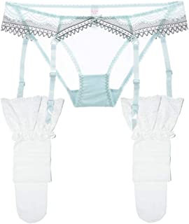5468f376fc Women s Sheer Lace Garter CO-Pant Women Sexy Garters Blets and Stockings Set  2 Pcs