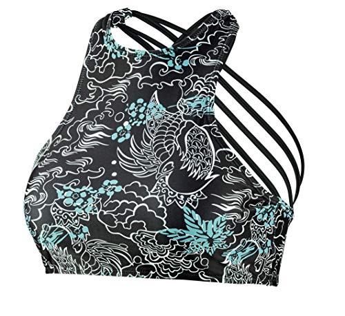 Beco Damen Sportlicher High Neck Top, mit Gekreuzten Spaghettiträgern, herausnehmbare Pads, B Cup Bikini, schwarz/Bunt, 38
