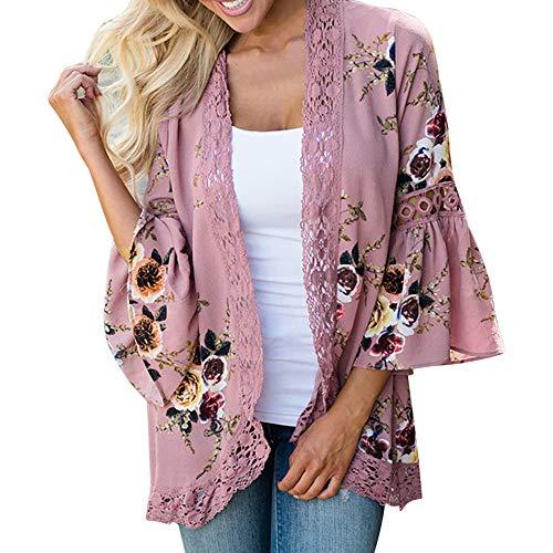 Lazzboy Women Cover-up Kimono Boho Ethnic Floral Printed Sunscreen Flare 3/4 Sleeve Lace Chiffon Plus Size Oversized(XL(16),Pink-Flare Sleeve