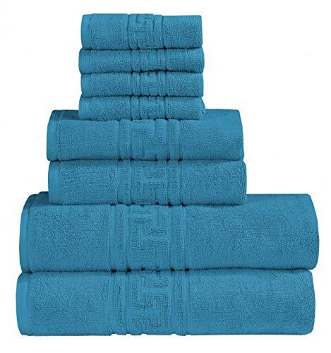 Asciugamani morbidi e altamente assorbenti, 100% cotone egiziano filato 700 g/m², resistenti allo sbiadimento, 8 pezzi, colore foglia di tè