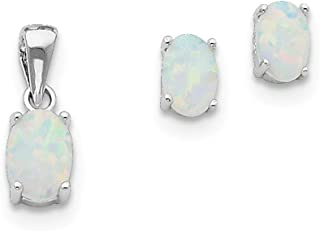 Sterling Silver Polished Post Earrings Rhodium-plated Simulated Opal Pendant and Earrings Set