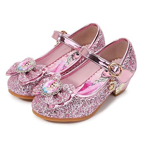 YOSICIL Disfraz Princesa Zapatos Frozen Elsa Zapatos de Lentejuelas Antideslizante Nias Zapatos de Tacn Velcro Zapatillas de Baile para Vestir Fiesta Cumpleaos Boda Infantil 3-14 Aos