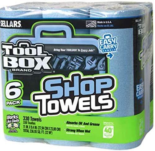 Sellars Wipers & Sorbents 5441602 Blue Shop Towels, 6-Roll Pack - Quantity 1