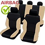 akhan SB102–Calidad Asiento de Coche Asiento Fundas schonbezüge DGX650con airbag Lateral Negro/Beige