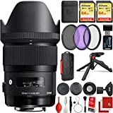 Sigma 35mm f/1.4 Art DG HSM Lens Canon EOS EF-Mount Bundle with 2X 64GB Memory Cards, IR Remote, 3 Piece Filter Kit, Wrist Strap, Card Reader, Memory Card Case, Tabletop Tripod