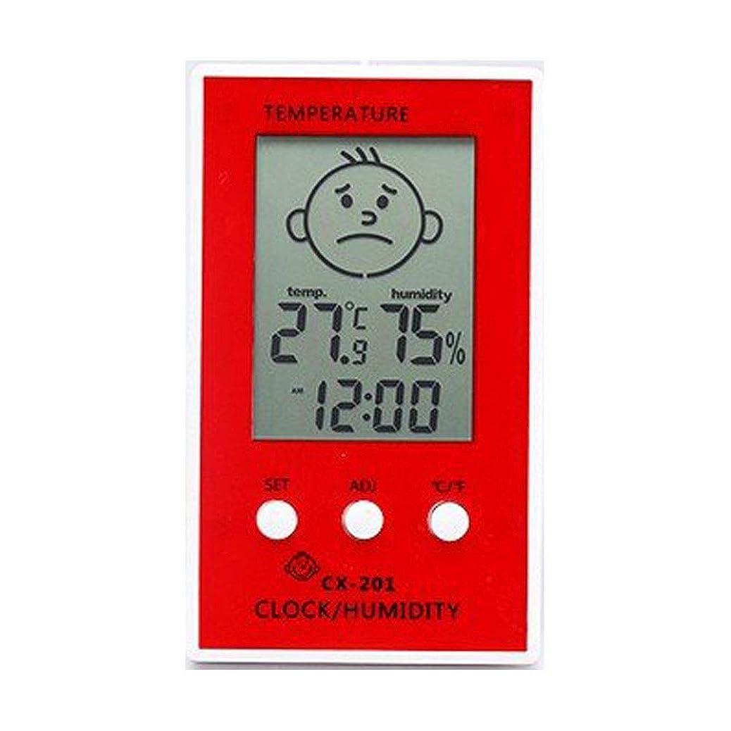 確かなアカデミック土WONDER LABO》目覚ましデジタル時計 卓上?マグネット 温湿度計 マルチ 快適指標付き (レッド)