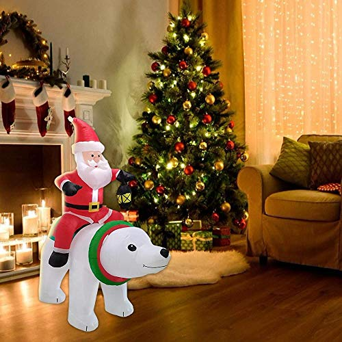 6ft Christmas Inflatables Outdoor Decoration Inflatable Santa Claus Riding Polar Animation Bear Integrated LED Lights With Straps Stakes For Outdoor Patio Garden Lawn
