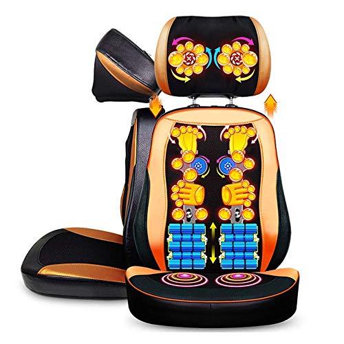 Renovation House Masajeador de espalda y cuello para silla Cojín de silla de masaje Shiatsu con vibración de calor y amasamiento profundo Cojín de asiento de masaje eléctrico con almohada ajustable