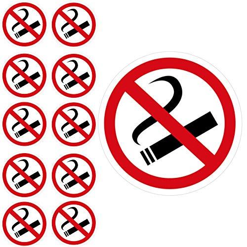 11 x Aufkleber Rauchen Verboten (10cm - abgelöst 9,5 cm - Rund) - UV-Resistent - Vorgestanzt - Für Außen und Innen - Alternative zum Nicht Rauchen Schild - Rauchen verboten Aufkleber 10 cm