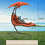Hanging Chaise Lounge Chair Hammock Chair,Outdoor Chair Patio Chair for Adults,Air Porch Swing Arc Stand with Canopy Umbrella,Garden Backyard Deck Chair Free Standing Floating Bed Furniture,Orange