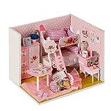 CONTINUELOVE Kit de casa de muñecas de Madera en Miniatura DIY - Modelo de casa de muñecas con Muebles, Luces LED y Cubierta Antipolvo - Mini casa de muñecas Juguete
