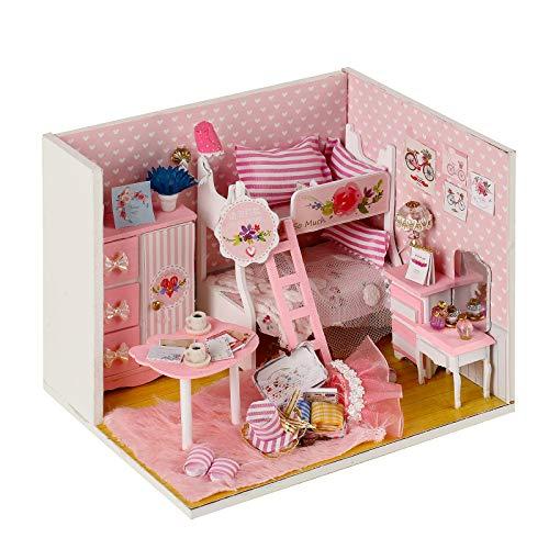 CONTINUELOVE DIY Miniatur-Puppenhaus-Kit - Miniatur-Puppenhaus-Modell-Kit aus Holz - mit Möbeln, LED-Lichtern und Staubschutz - Mini-Spielzeughaus - Das Beste Spielzeuggeschenk für Jungen und Mädchen