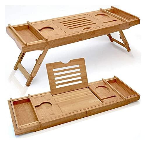 Cubierta de la bañera Bandeja de la bañera de madera de lujo expandible  Bandeja de escritorio de cama de laptop de bambú con dos pies escalables y ajustables, bandeja de bañera y organizador de baño