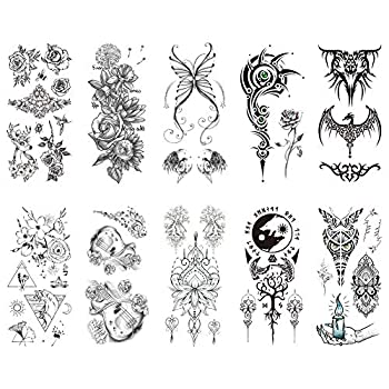 TAFLY Women Black Flowers Tattoo Transferable Fake 3D Body Art Tatoos Neck Arms Leg Sleeve Rose Temporary Tattoo Sticker 10 Sheets