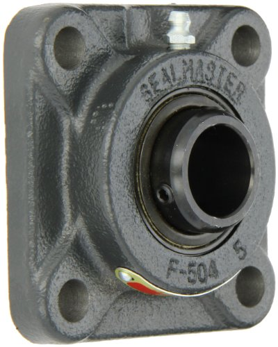 "Sealmaster SF-16 Standard Duty Flange Unit, 4 Bolt, Regreasable, Felt Seals, Setscrew Locking Collar, Cast Iron Housing, 1"" Bore, 3-3/4"" Overall Length, 2-3/4"" Bolt Hole Spacing Width, 17/32"" Flange Height"