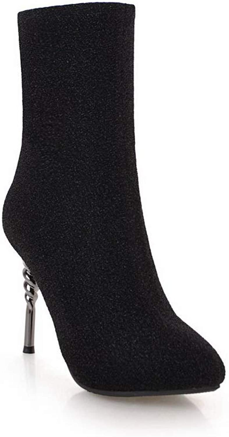 AN Womens Cone-Shape Heel Pointed-Toe Microfiber Boots DKU02353