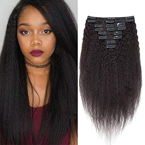 """Afro Kinky Straight Extension A Clip Cheveux Naturel 8 Pieces Extension Bresilien [Double Weft] Rajout Cheveux Epais - 10""""/25CM,Noir Naturel"""