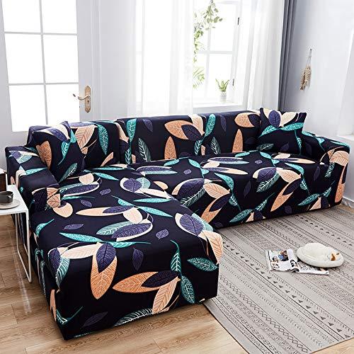Fundas de sofá Chaise Longue Impresas en Forma de L para Sala de Estar Protector de sofá Fundas elásticas Antipolvo para sofá de Esquina A26 de 4 plazas