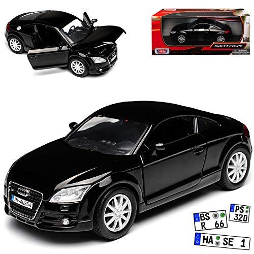 Motormax A-U-D-I TT 8J Coupe Schwarz 2. Generation 2006-2014 1/24 Modell Auto mit individiuellem Wunschkennzeichen