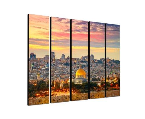 Jerusalem Städtebild 5x30x120cm XXL extra großes 5-teiliges Wandbild auf Leinwand und Keilrahmen fertig zum aufhängen - Unsere Bilder auf Leinwand bestechen durch ihre ungewöhnlichen Formate und den extrem detaillierten Druck aus bis zu 100 Megapixel hoch aufgelösten Fotos.