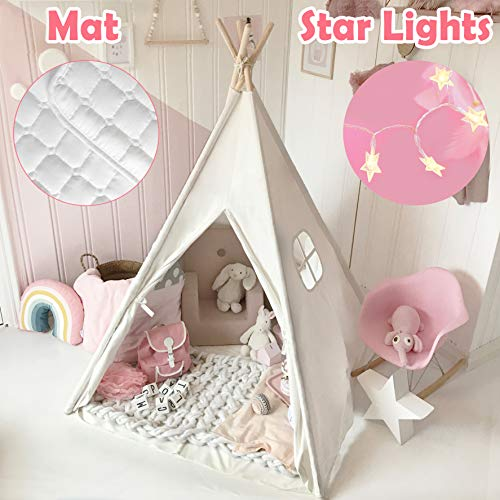 Kids Teepee Tent with Mat & Light String& Carry Case- Kids Foldable Play Tent for Indoor Outdoor,...