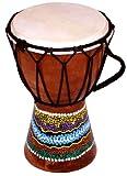 World Playground 15cm Djembe Drum with Hand Painted Design - West African Bongo Drum